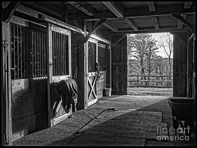 Inside The Horse Barn Black And White Art Print