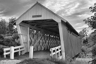 Photograph - Inside The Imes Covered Bridge Black And White by Adam Jewell