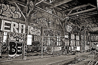 Photograph - Inside The Old Train Roundhouse At Bayshore Near San Francisco And The Cow Palace V Black And White  by Jim Fitzpatrick