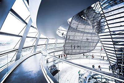 Wide Angled Glass Mirror Photograph - Inside The Reichstag Dome by JR Photography