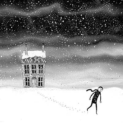 Snowstorm Drawing - Inside The Snow Globe  by Andrew Hitchen