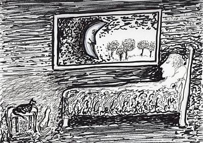 Drawing - Insomnia Moon by Jim Taylor