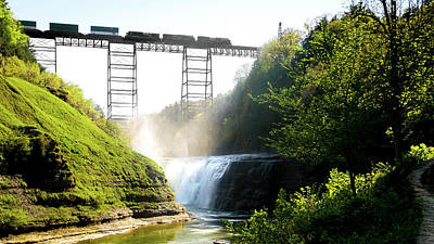 Photograph - Inspiration Falls And Train Trestle by Optical Playground By MP Ray