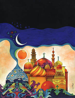 Moon And Stars Painting - Inspiration Of The Arabian Nights by Mohamed Abotalib