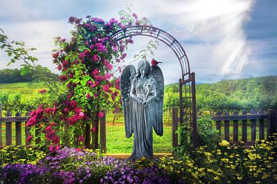 Photograph - Inspirational Angel In The Garden by Debra and Dave Vanderlaan