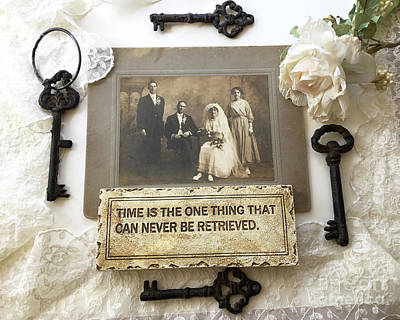 Inspirational Art - Vintage Wedding Photo With Antique Keys - Inspirational Vintage Black Keys Art  Art Print by Kathy Fornal