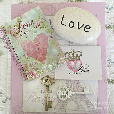 Photograph - Inspirational Love One Another Shabby Chic Pink White Baby Nursery Room Decor - Romantic Love Decor by Kathy Fornal