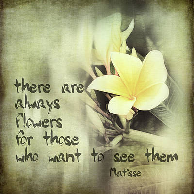 Photograph - Inspirational Matisse Quote by Ann Powell