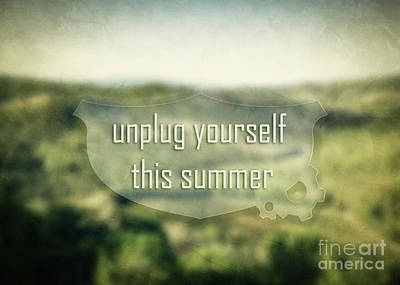 Summer Landscape Photograph - Inspirational, Motivational Message On Nature Green Landscape Blurred Background by Michal Bednarek