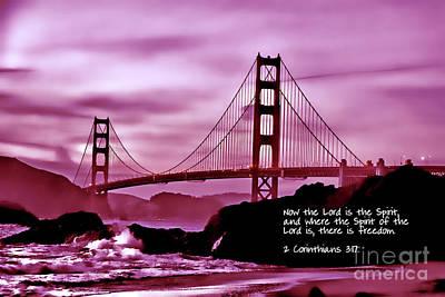 Inspirational - Nightfall At The Golden Gate Art Print