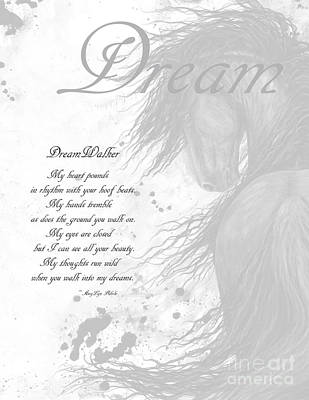 Friesian Painting - Inspirational Poem Dreams by AmyLyn Bihrle