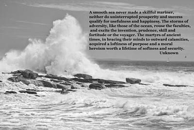 Photograph - Inspirational Quote And Large Waves On The Coast Of Maine by Keith Webber Jr