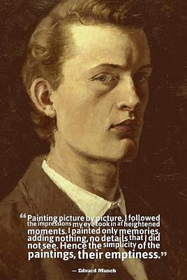 Action Lines Painting - Inspirational Quotes - Edward Munch 7 by Celestial Images