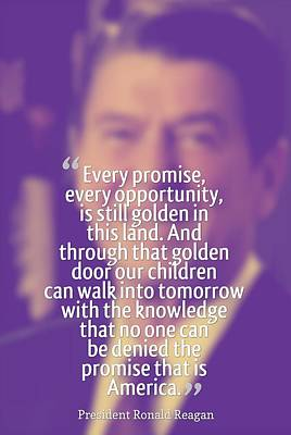 Strong Painting - Inspirational Quotes - Motivational - 74 President Ronald Reagan by Celestial Images