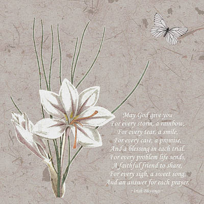 Drawing - Inspirational Sympathy Gifts Poem Poster Irish Blessings 1 by Injete Chesoni