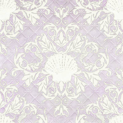 Painting - Inspired Coast Beach Seashell Damask Scrollwork Lavender by Audrey Jeanne Roberts