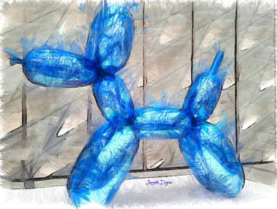 Light Blue Digital Art - Insufflated Dog - Da by Leonardo Digenio