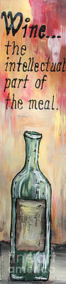 Reverse Glass Painting - Intellectual Wine Panel 1 by Cathy Weaver