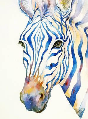 Zebra Art Painting - Intense Blue Zebra by Arti Chauhan