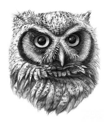 Intense Drawing - Intense Owl G137 by Svetlana Ledneva-Schukina