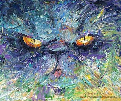 Intense Palette Knife  Persian Cat Art Print