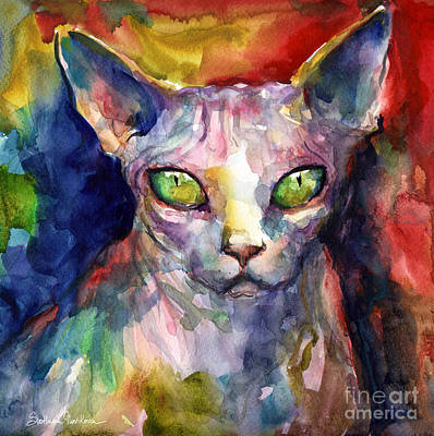 Sphynx Cat Painting - intense watercolor Sphinx cat painting by Svetlana Novikova