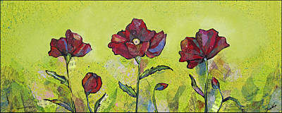 Burgundy Painting - Intensity Of The Poppy I by Shadia Derbyshire