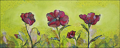 Burgundy Painting - Intensity Of The Poppy II by Shadia Derbyshire