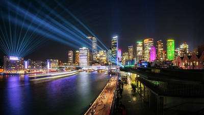 Photograph - Interactive Laser Show During Vivid Sydney by Daniela Constantinescu