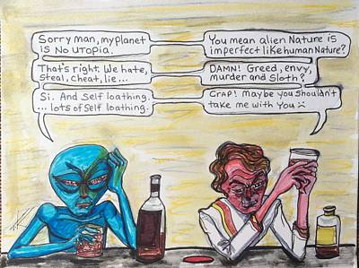 Drawing - Intergalactic Reality Check by Similar Alien