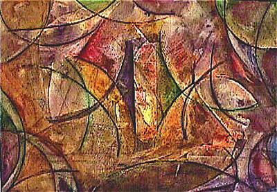 Mystical Landscape Painting - Interior Beginings by Dan Earle