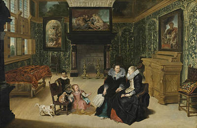 Painting - Interior, Called Rubens' Salon by Frans Francken the Younger