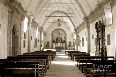 Photograph - Interior Carmel Mission Chapel Looking Towards The Altar Circa 1937 by California Views Mr Pat Hathaway Archives