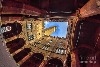 Photograph - Interior Courtyard Of Siena's Palazzo Pubblico by Spencer Baugh