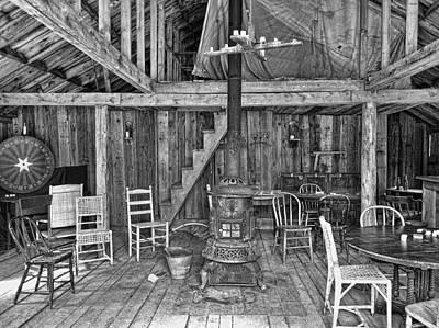 Interior Criterion Hall Saloon - Montana Territory Print by Daniel Hagerman