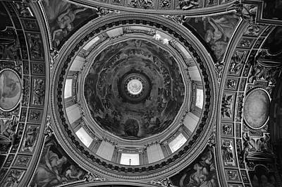 Photograph - Interior Dome Art And Architecture Basilica Di Santa Maria Maggiore Rome Italy Black And White by Shawn O'Brien
