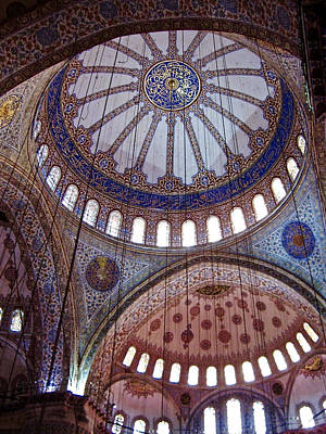 Medieval Temple Photograph - Interior Domes Of The Blue Mosque by Rachel Morrison