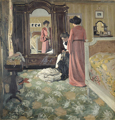 Sewing Room Painting - Interior by Felix Edouard Vallotton