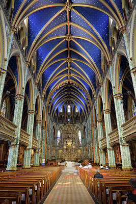 Photograph - Interior Nave Of Notre Dame Roman Catholic Cathedral Basilica In by Reimar Gaertner