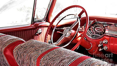 Photograph - Interior Of 1956 Oldsmobile  by Janice Drew