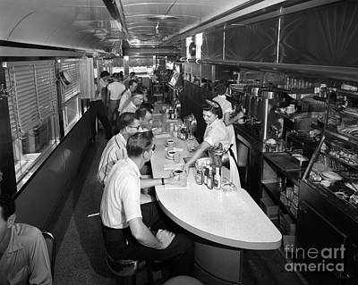 Customer Service Photograph - Interior Of A Busy Diner, C.1950-60s by H. Armstrong Roberts/ClassicStock