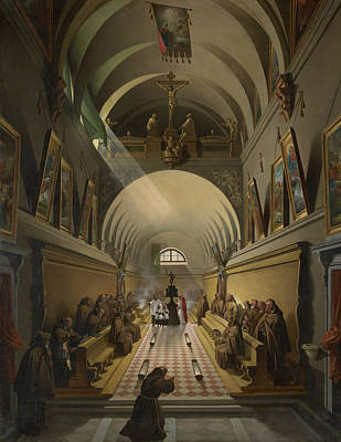 Painting - Interior Of A Capuchin Convent by Francois-Marius Granet