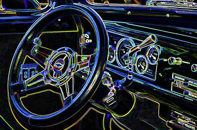 Sportscar Painting - Interior Of A Classic Vintage Car by Lanjee Chee