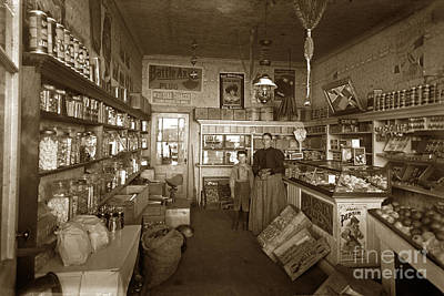 Photograph - Interior Of A Dry Good And Candy And Tobacco Store Circa 1900 by California Views Mr Pat Hathaway Archives