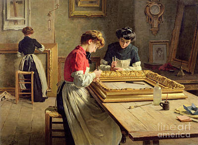 Artisan Painting - Interior Of A Frame Gilding Workshop by Louis Emile Adan