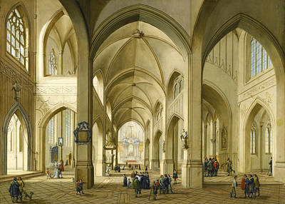 Painting - Interior Of A Gothic Church by Johann Friedrich Morgenstern