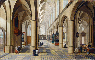 Gothic Painting - Interior Of A Gothic Church by MotionAge Designs