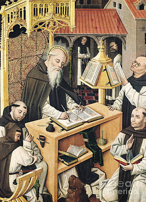 Scribes Painting - Interior Of A Scriptorium by Spanish School