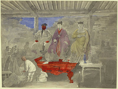 Painting - Interior Of Buddhist Temple Or Shrine With Statues by Mountain Dreams