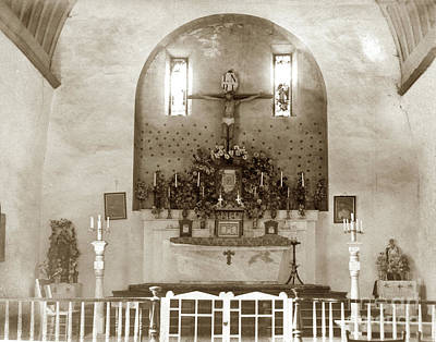 Photograph - Interior Of Carmel Mission Circa 1915 by California Views Mr Pat Hathaway Archives